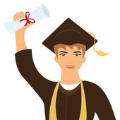 Happy graduate young man — Stock Vector