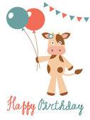 Carta di compleanno con mucca azienda palloncini — Vettoriale Stock