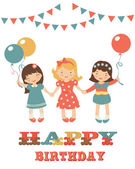Birthday card with cute little girls — Stock Vector