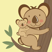 Koala sitting on a tree with a baby — Stock Vector