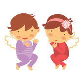 Cute little angels — Vector de stock