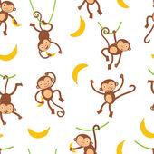 Cute monkeys pattern — Stock Vector