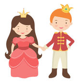 Prince and princess holding hands — Stock Vector