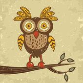 Beautiful retro style owl — Stock Vector