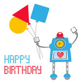 Cute Robot Birthday card — Stock Vector
