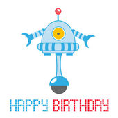 Gelukkige verjaardagskaart met robot — Stockvector