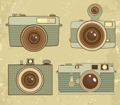 Old style photo cameras collection — Stock Vector