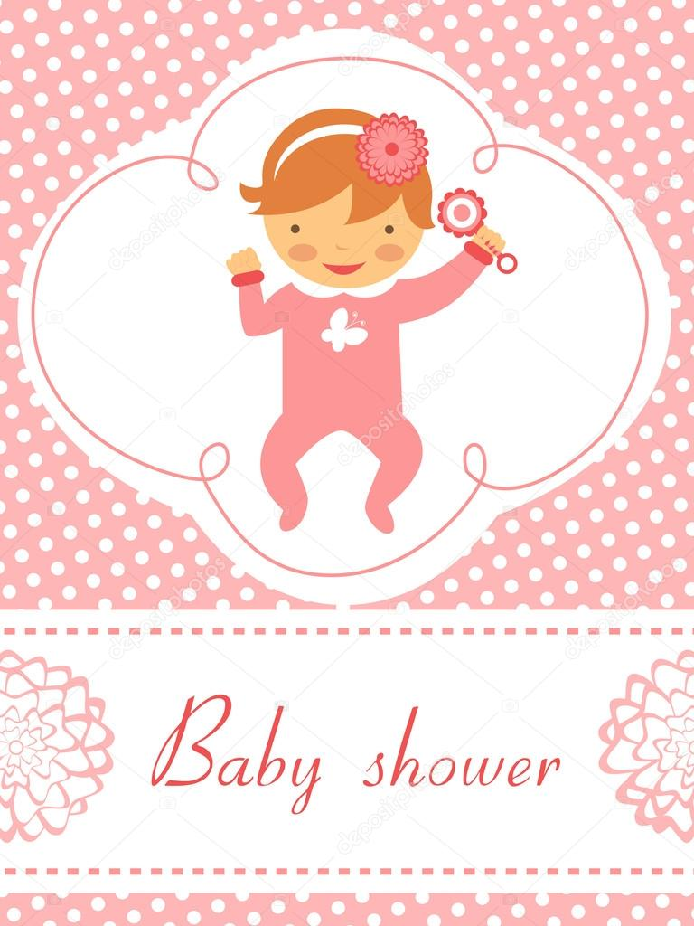 Baby shower card with baby girl holding rattle — Stock Vector ...