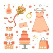 Bridal shower elements - Stock Vector