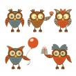 Funny owls set - Stock Vector