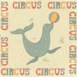 Vintage circus poster with seal — Stock Vector