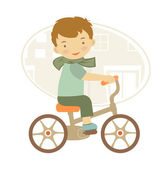 Little boy on bicycle — Stock Vector