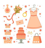 Bridal shower elements — Stock Vector