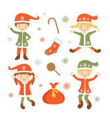 Cute Santa helpers — Stock Vector