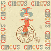 Retro circus poster with clown — Stock Vector