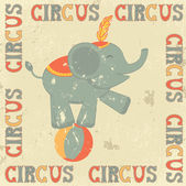 Retro circus poster with elephant — Stock Vector