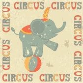 Plakat retro cyrk z słoń — Wektor stockowy