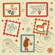 Retro christmas stamps — Vector de stock