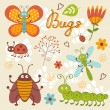 Cute bugs collection — Stock Vector