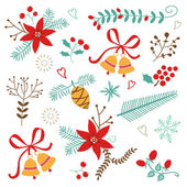 Christmas and New year decorative elements — Stock Vector