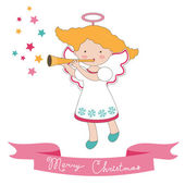 Christmas card with little angel — Stock Vector