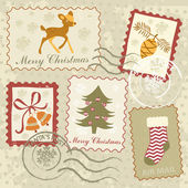 Christmas stamps collection — Stock Vector