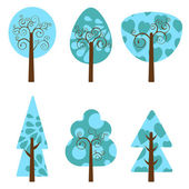 Winter trees collection — Stock Vector