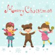 Christmas card with happy kids — Stock Vector