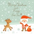 Stock Vector: Greeting card with Santa and deer