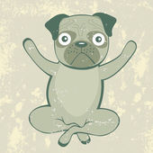 Yoga pug — Stock Vector