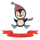 Christmas card with cute little penguin — Stock Vector