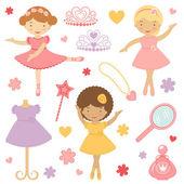Little dancing ballerinas collection — Stock Vector