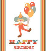 Cute happy birthday card with clown — Stock Vector