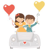 Cute couple driving at Valentines day — Stock Vector