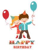 Mutlu doğum günü kartı ile çocuklar — Stok Vektör