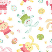 Easter seamless pattern with bunnies — Stock Vector