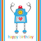 Birthday card with robot — Stock Vector