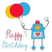 Robot Happy birthday card — Stock Vector