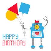 Carte d'anniversaire de robot mignon — Vecteur