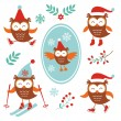 Cute winter owls — Stock Vector