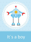 Baby arrival card with cute little robot — Stock Vector