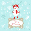 Stock Vector: Snowgirl Christmas card