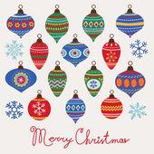 Baubles Christmas card — Stock Vector