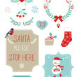 Cute Christmas clipart — Stock Vector