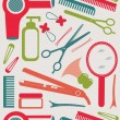 Stock Vector: Hairdressing accessories pattern