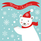 Christmas card with polar bear — Vecteur