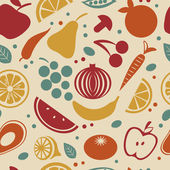 Retro style fruit and vegetables pattern — Stockvector