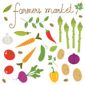 Farmers market set — Stock Vector