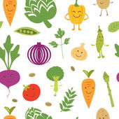 Fun vegetables pattern — Stock Vector