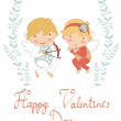Valentine`s day greeting card with cupids — Stock Vector